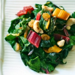Eat your greens! Rainbow chard with raisins and cashews
