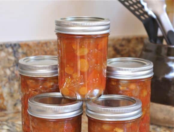 Tomato Chutney in jars