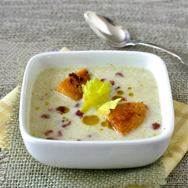 Celery Soup with Pancetta Cornbread Croutons