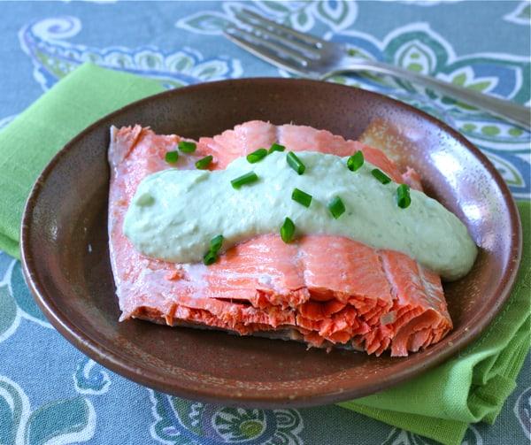 Poached Salmon with Chive Yogurt Sauce