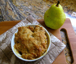 Revenge of the pear crisp: a twist on a classic, using pear, Meyer lemons and crystallized ginger.