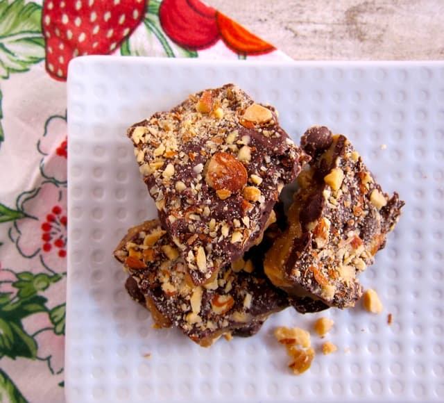 My homemade recipe for toffee that I make every year during the December holidays for Christmas treats.