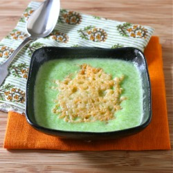 Spring Green Pea Soup with Parmesan Crisps