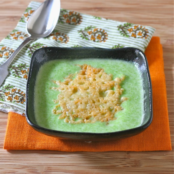 Spring Green Pea Soup with Parmesan Crisps3