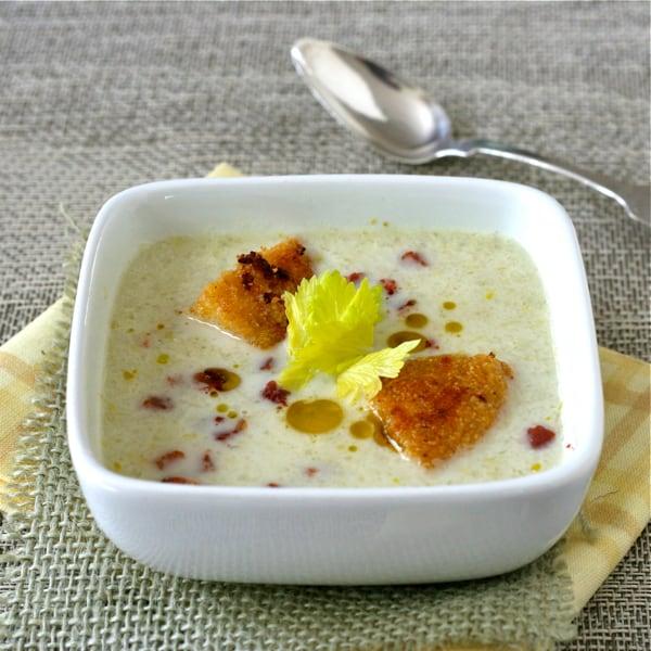 Celery Soup with Pancetta Cornbread Croutons