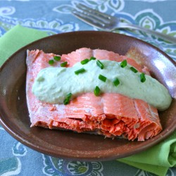 Poached Salmon with Chive Yogurt Sauce